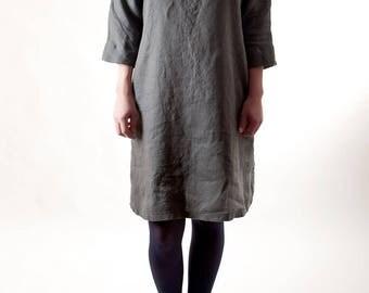 Graphite linen dress / Washed linen tunic