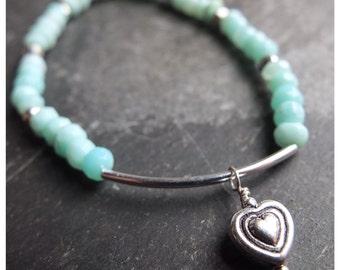 Peruvian blue opal bracelet - sterling silver - heart charm - aqua blue gemstone beaded bracelet