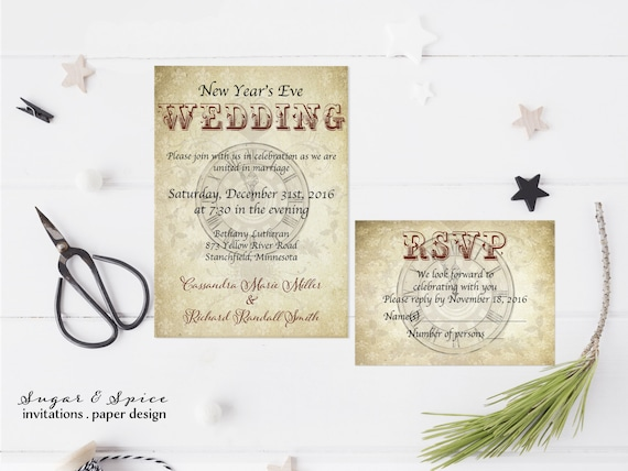 Steampunk New Years Wedding Invitation