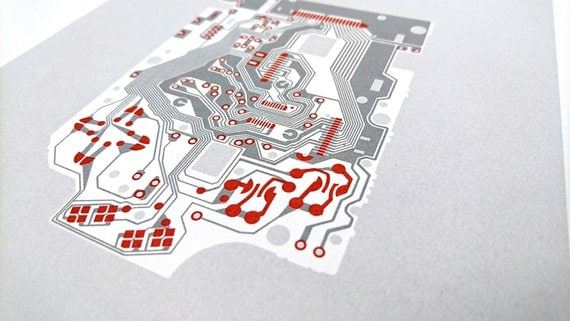 Nintendo Gameboy 1989 screen print red and grey art silkscreen circuit portrait retro computing