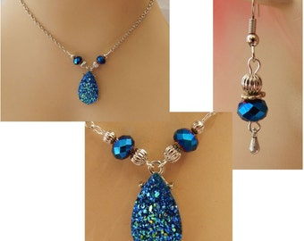 Midnight Blue Necklace & Earrings Set NEW Adjustable Accessories Fashion Silver Chain