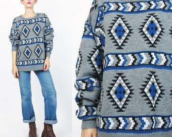 1980s Geometric Sweater Cozy Abstract Geo Knit Sweater Diamond Print Sweater Gray Pattern Pullover Ski Winter Unisex Striped Sweater M/L E59