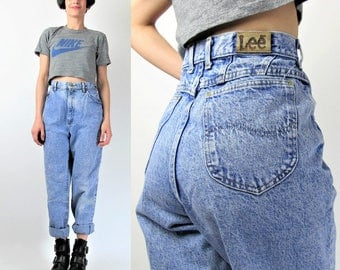Lee Acid Wash Jeans 80s 90s High Waist Jeans Vintage Mom Jeans Boyfriend Jeans Grunge Tapered Leg Jeans Womens Blue Jeans Hipster 29 M E6089