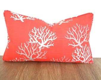 Coral pillow cover for beach cottage decor,nautical lumbar case for ocean lover, coral and grey beach cushion piping