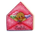 Ginger in Envelope Ornament or Fridge Magnet, Handpainted Wood Gingerbread Refrigerator Magnet, Hand Painted Ginger, Tole Painting
