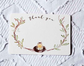 Printable Owl and Twin Eggs Thank You Note