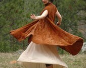 Free Size... Artful Flowing Maxi Jacket... Capelet... Art Nouveau Inspired
