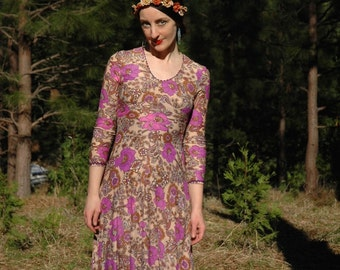 Vintage 60s Psychedelic Floral Maxi Dress... 1960s Long Flower Print Dress