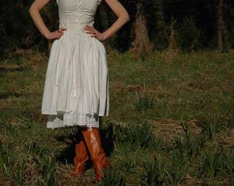Size XS... Vintage BILA Cotton Dress... Boho Dress... Double Layer Skirt... Eyelet Lace