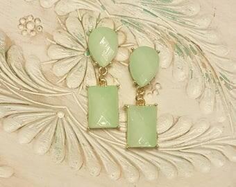 Jade Green Dangle Plugs Guages Wedding Prom 0g 8mm, 00g 10mm P9