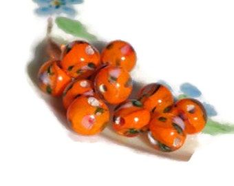 Vintage Flower Glass Beads,Glass Flowers, Rose Beads,8mm Beads,Orange Rounds,floral Lampwork,Flowers beads Shabby Chic Cottage #968A