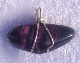 Sugilite Wire Wrapped Pendant with Sterling Silver Wire