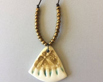 Ceramic Statement Pendant, Ceramic Pendant Necklace, Porcelain Pendant, BoHo Necklace, Ceramic Jewelry, Geometric Jewelry, Modern Necklace