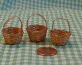 3 Tiny 1 1/8 inch Miniature Easter Baskets for Crafting or Collecting or Decorating, Woven Light Color, Mini Basket