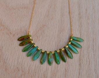Black Friday -Aqua Green Dagger Necklace