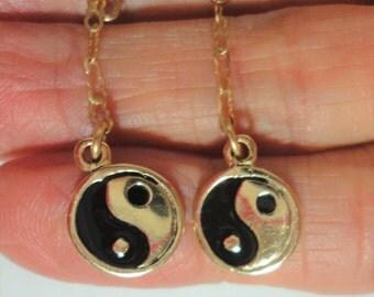 Yin Yang Earrings in 14k Solid Gold with Black Enamel Yin Yang Earrings on 14k Gold Chain and 14k Gold Swing Back Earrings Weigh 3.6 grams