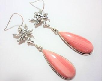 Pink Opal Fairy Earrings Genuine Pink Opal Teardrop Gemstones Hang from Sterling Silver Fairy Earrings in Solid Sterling Silver