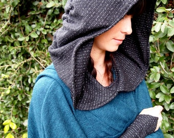 NEW The Sweater Knit Ruched Hood in Soft Black Texture by Opal Moon Designs (One Size Fits all)
