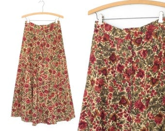 Vintage Floral Skirt * 90s Maxi Skirt * Romantic Sweeping Skirt * Medium
