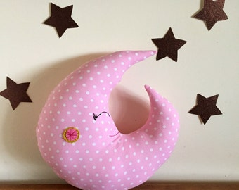 moon pillow, pink nursery, moon plush, stuffed moon, baby, crescent moon, luna, 100% natural cotton