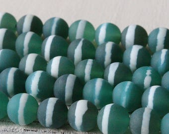 8mm Round Tibetan Agate Beads - Jewelry Making Supply -  Matte Seafoam Green Agate With Stripe
