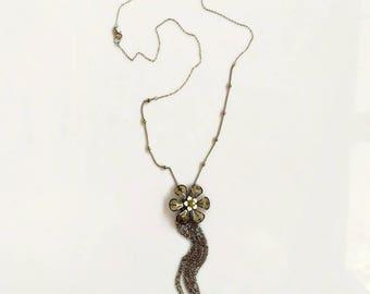 Flower Pendant Necklace, Long Tassel Necklace, Extra long chain tassel necklace, Silver tassel necklace