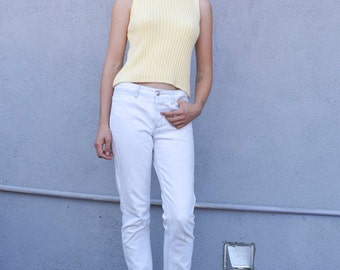 Vintage Yellow Knit 1990's Minimalist Cotton Ribbed Boat Neck Sleeveless Shell Tank Top S/M