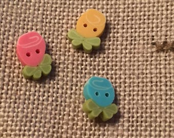 """Flower Buttons, """"Wee Ribbon Roses"""" Handmade Buttons by JABC, Set of 3 Teeny Tiny Buttons, Crafting, Sewing, Cross Stitch, Embellishments"""