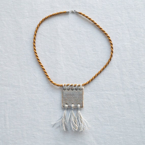 KNITTED SQUARE rope necklace with linen tassels, twisted cord necklace, ceramic porcelain necklace, sepia grey glaze, tassel necklace