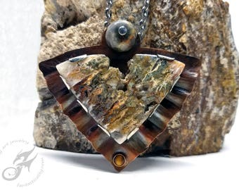 Metalwork Copper Gemstone Pendant, Linda Marie Plume Agate, Lace Agate & Tigerseye Accents ~ Riveted ~ One of a Kind Fantasy Piece ~ #P0066