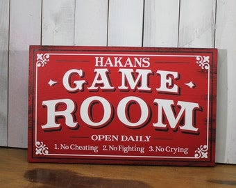 Game Room Sign/Personalized/Man Cave/Christmas Gift/YOU choose Colors/Game Room/Male Gift/Wood Sign/Hand Painted/Wood