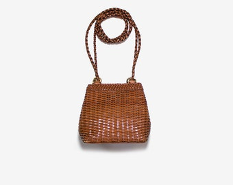 Vintage Bucket Bag / Brown Leather Bucket Bag / Mini Leather Purse / Woven Bag / Bucket Purse