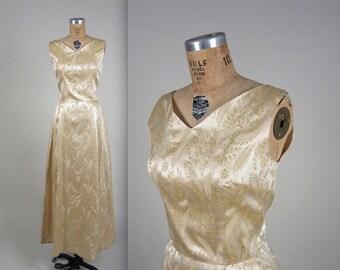 1960s brocade maxi dress • vintage 60s dress • sleeveless evening dress