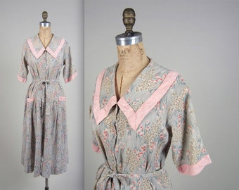 1930s floral wrap house coat • vintage 30s robe • dressing gown
