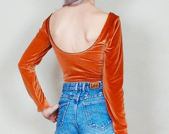 Party crasher - Long sleeve velvet bodysuit with scoop back - rust copper