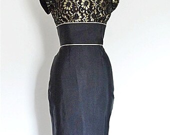 "UK Size 12 Black Grosgrain Pencil Dress - 30"" Length Skirt - Made by Dig For Victory"