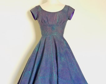 UK Size 10 Purple Zig Zag Block Print Swing Dress - Made by Dig For Victory