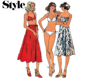 Style 1930 Bikini Skirt Beach Dress 1970s Vintage Sewing Pattern Size 12 Bust 34 inches
