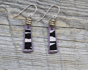 LAVENDER ZEBRA / Wood Earrings / Women's Jewelry / Gifts For Her / Sustainable / Earrings / Acrylic Painting / Art / Art Jewelry
