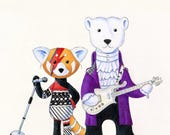 Walter the Red Panda, as Aladdin Sane and Jack the Polar Bear as Prince 8 x 10 Print by SBMathieu