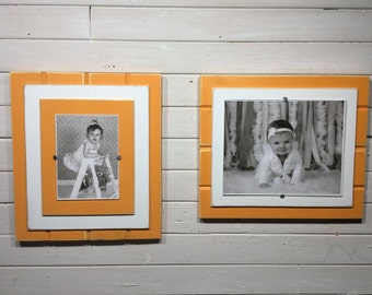"Orange and White picture frame holds 5""x7"" or 8""x10"" University of Tennessee colors"