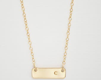 Gold Bar Initial Necklace - small gold filled charm smooth sideways dainty everyday simple handmade initial jewelry adenandclaire