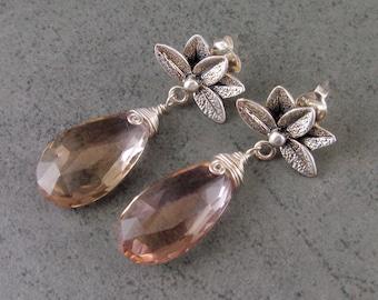 Ametrine earrings, handmade sterling silver lotus flower earrings-OOAK