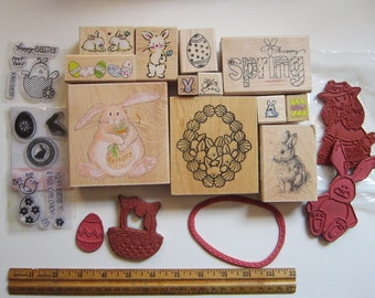 20 rubber stamps - EASTER assortment - red rubber, mounted and unmounted, clear acrylic - instant collection