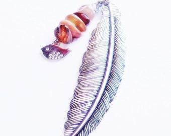 Beaded Bookmark with Bird Charm. Gemstone Beaded Bookmark. Metal Feather Bookmark. Beaded Charm Bookmark.