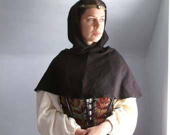 ladies medieval hood cowl mantle in black