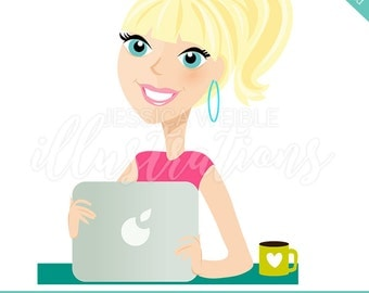Instant Download Character Illustration, Short Pony Tail, Woman with Laptop, Working Mom, mom entrepreneur, Girl Boss, Cartoon Woman -#CI009