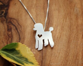 Poodle necklace, tiny sterling silver hand cut pendant with heart, tiny dog breed jewelry