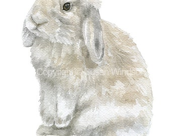 Bunny Watercolor Painting - Tan Gray Lop Rabbit - 8 x 10 - Nursery Art - 8.5 x 11 - Giclee Print