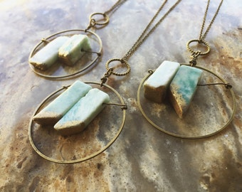 Amazonite Necklace/ Turquoise Necklace/ Gold Dip Pendant/ Natural Gemstone/ Geode Necklace/ Body Jewelry/ OOAK Jewelry/ Holiday/ Gifts